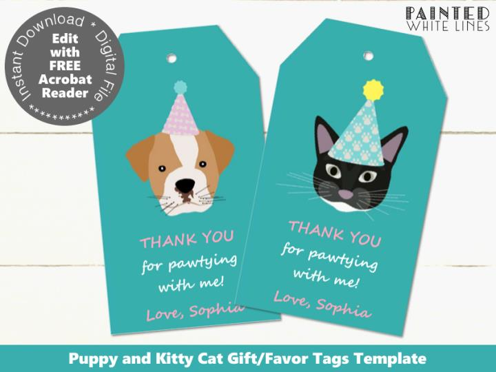 Pet Adoption Party Editable Favor Tags Template