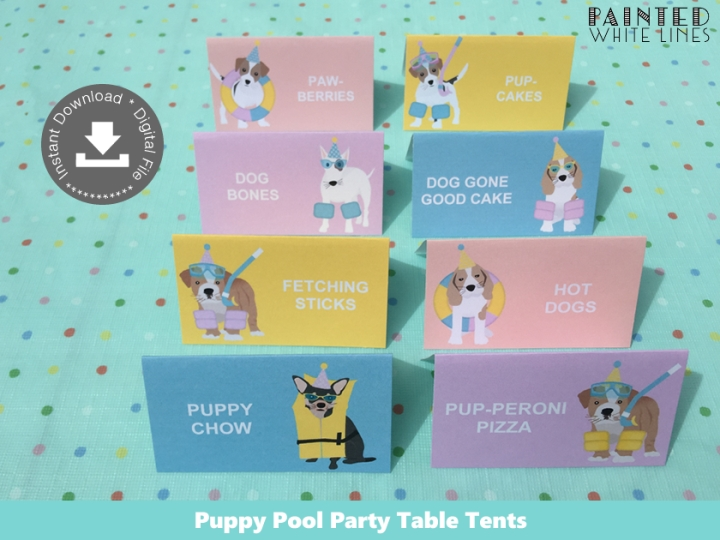 Doggy Paddle Pool Party Food Labels Template