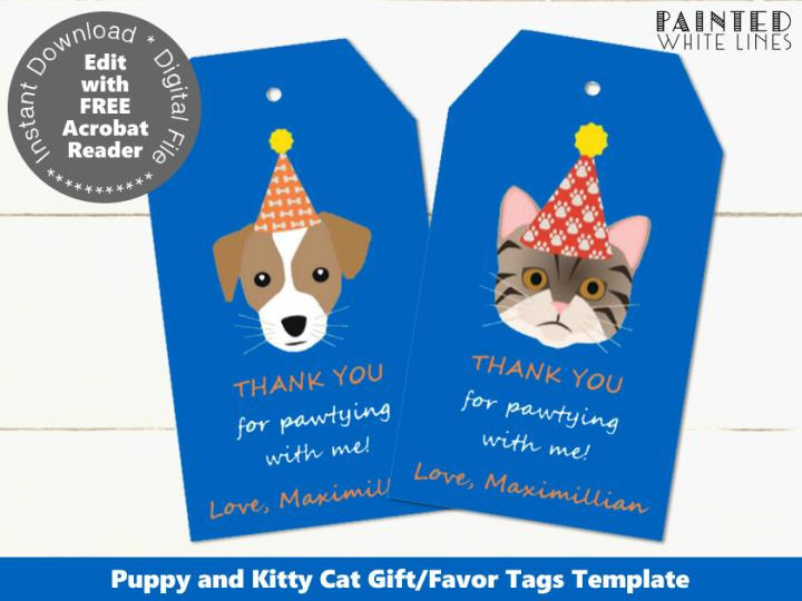 Cat and Dog Editable Favor Tags Template