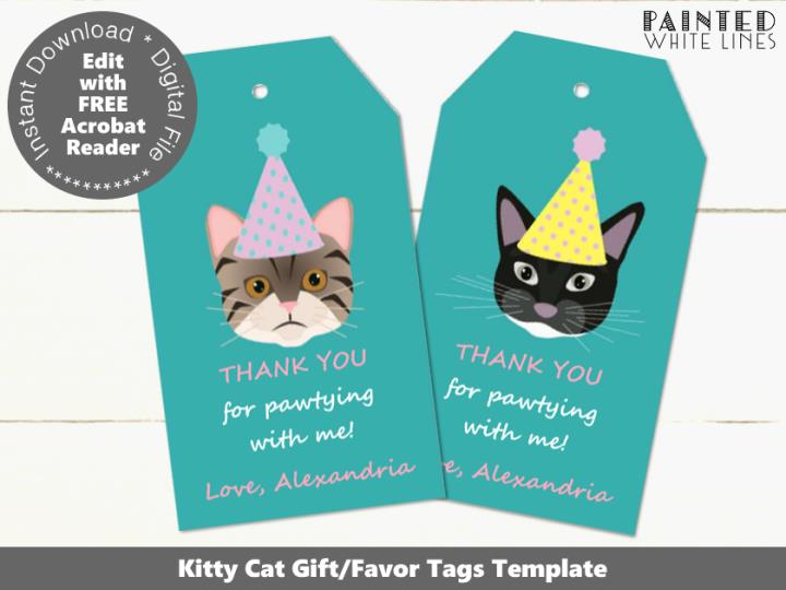 Cat Party Editable Favor Tags Template