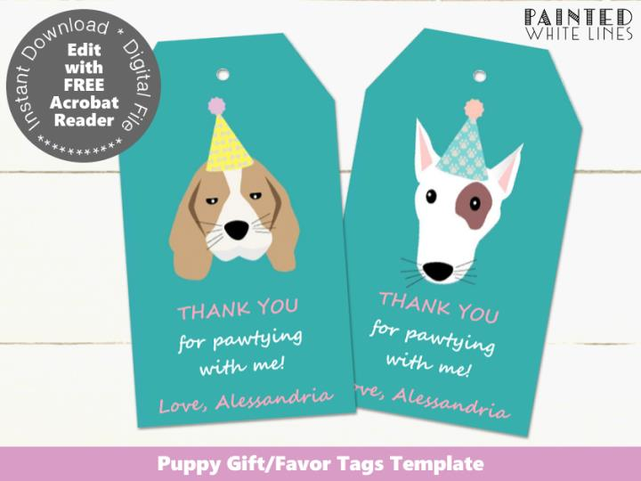 Dog Party Printable Favor Tags