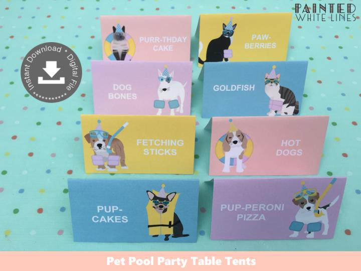 Pool Pawty Pool Party Food Labels Template