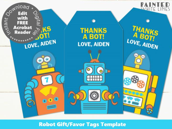 Robot Party Favor Tags Template