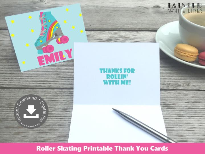 Roller skating Thank You Cards / Stationery Template