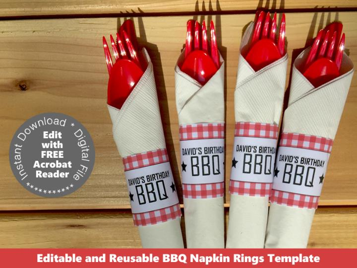 Printable Backyard BBQ Napkin Rings
