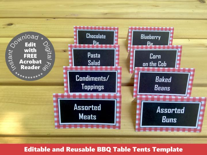 Printable Backyard BBQ Food Labels