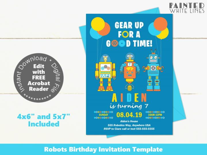 Robot Birthday Invitation Printable Template