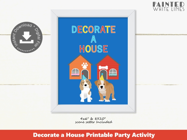 Decorate a House Puppy Party Activity Sign