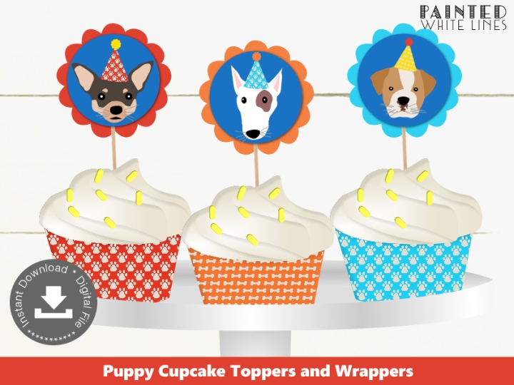 Printable Puppy Cupcake Toppers Wrappers