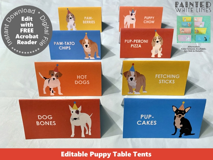 Puppy Table Tent Cards Template