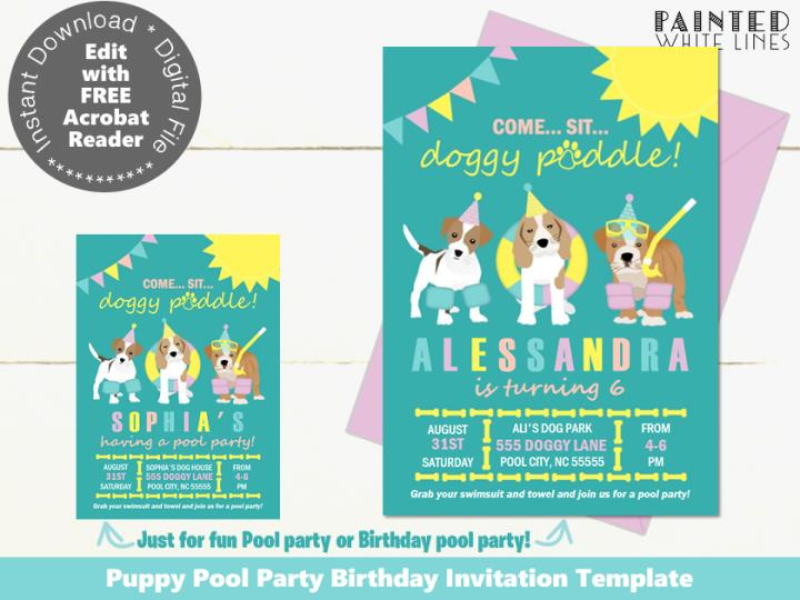 Doggy Paddle Pool Party Birthday Invitation Template