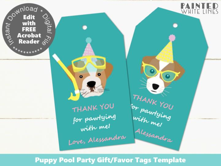 Doggy Paddle Pool Party Editable Favor Tags Template