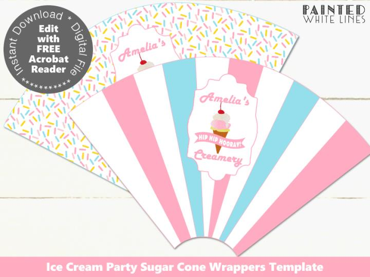 Ice Cream Cone Wrappers Template