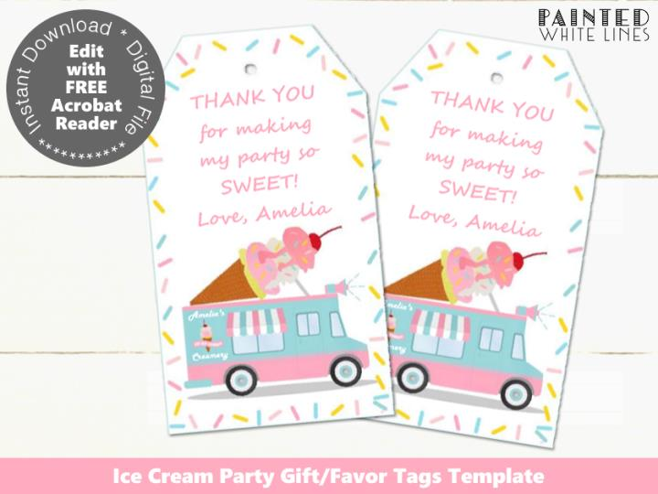 Ice Cream Party Favor Tag Template