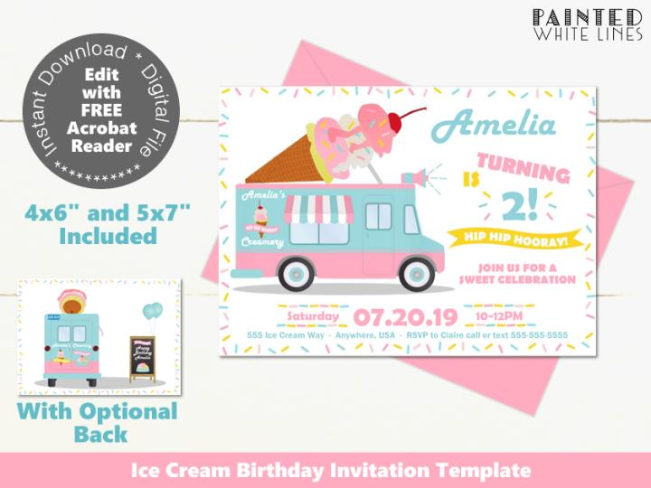 Ice Cream Invitation Editable Template