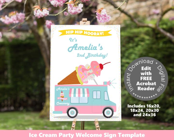 Ice Cream Party Welcome Sign Poster Sizes