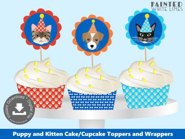Printable Puppy and Kitty Cat Cupcake Toppers Wrappers