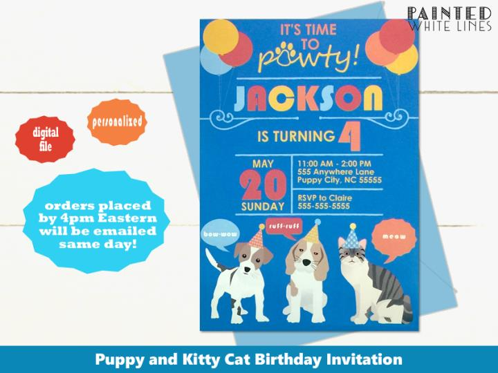 Printable Puppy Dog and Kitty Cat Birthday Invitation