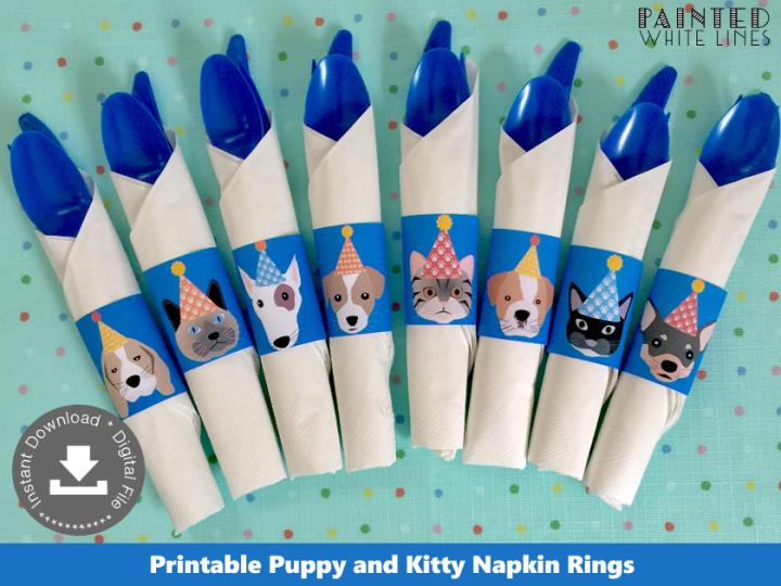 Puppy and Kitty Cat Napkin Rings