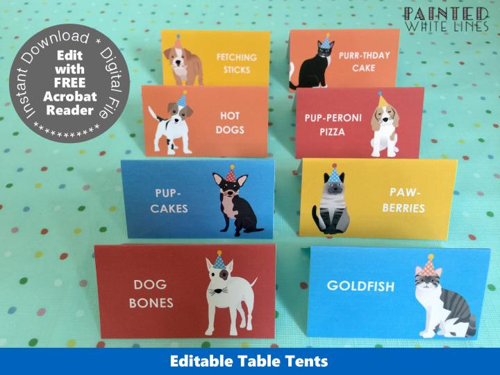 Puppy and Kitty Cat Table Tent Cards Template