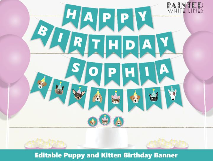 Puppy Dog and Kitty Cat Birthday Party Banner