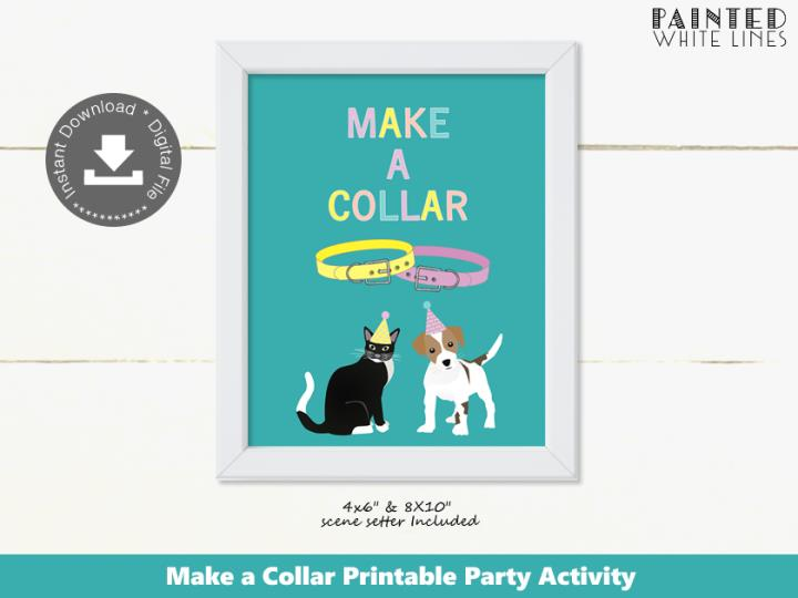 Make a Collar Puppy and Kitty Cat Party Activity Sign