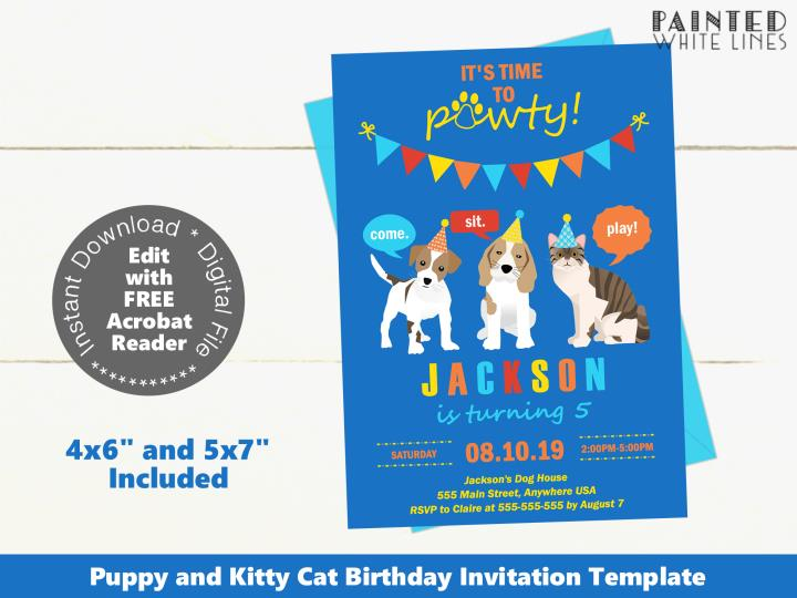 Puppy Dog and Kitty Cat Birthday Party Invitation