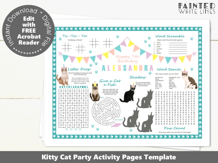 Kitty Cat Birthday Activity Sheet