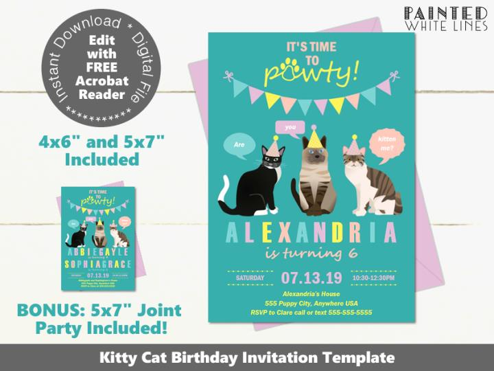 Cat Birthday Invitation Template