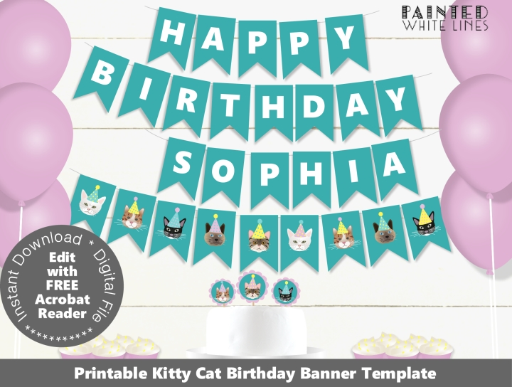 Kitty Cat Birthday Party Banner