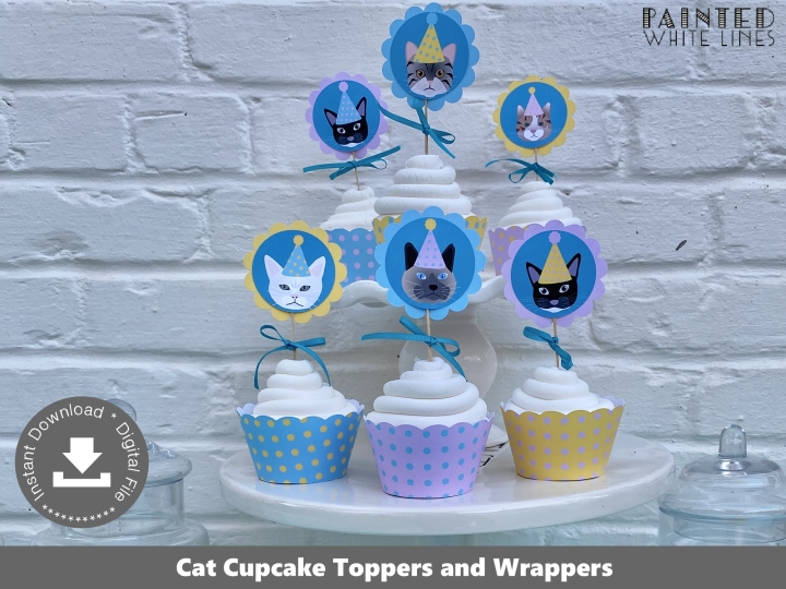 Kitty Cat Cupcake Toppers Wrappers