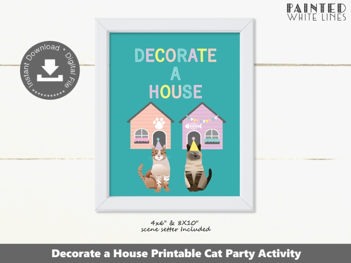 Decorate a House Cat Party Activity Sign