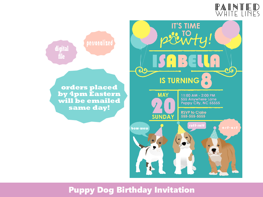 Girls Puppy Dog Birthday Party Invitation