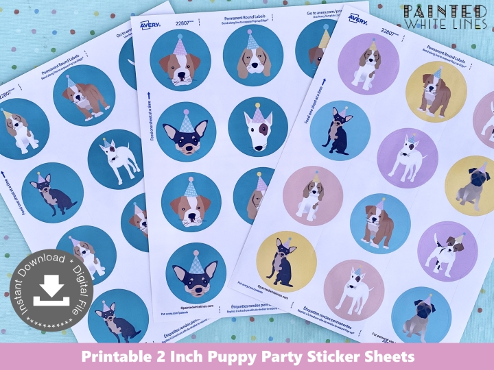 2 Inch Round Puppy Party Labels