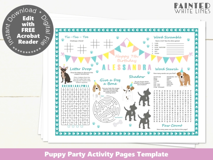Puppy Party Activity Sheet