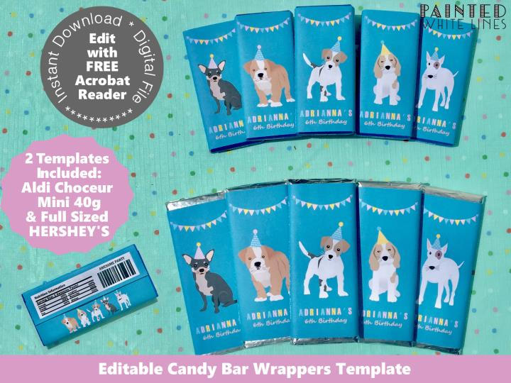 Dog Party Candy Bar Wrappers