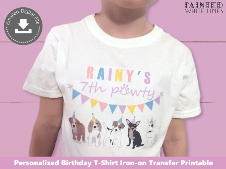 Puppy Dog Party Girl Birthday Shirt Iron On Transfer Digital File