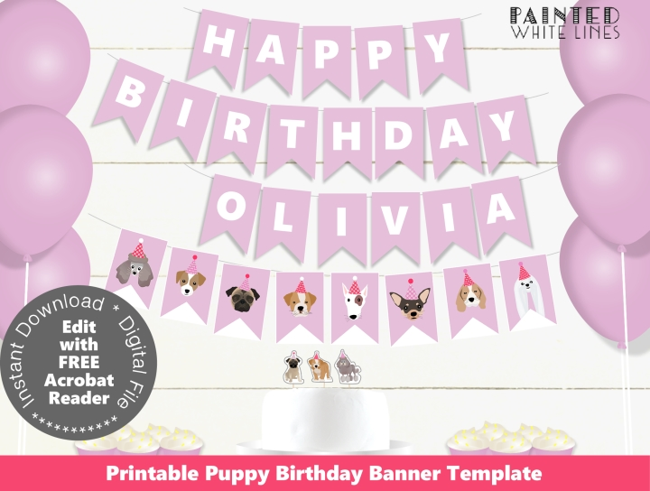 Puppy Dog Birthday Party Banner Template