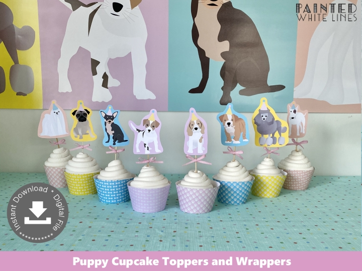 Printable Puppy Party Cupcake Toppers Wrappers