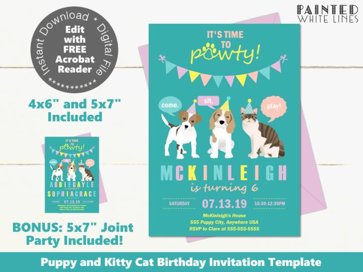 Puppy Dog and Kitty Cat Birthday Party Invitation Template