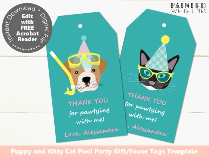 Pool Pawty Pool Party Favor Tags Template