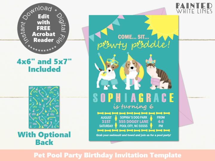 Pool Pawty Pool Party Invitation