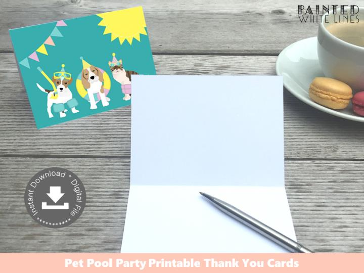 Pool Pawty Pool Party Pool Party Thank You Cards Printable