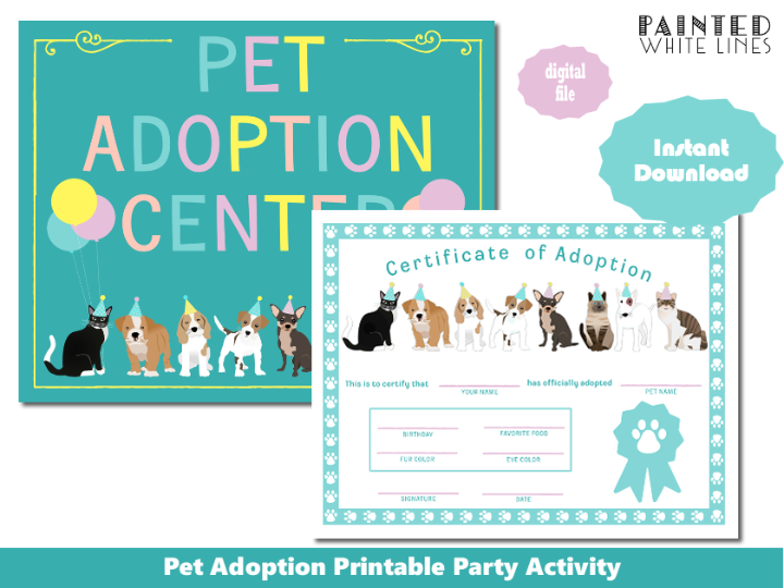 Printable Pet Adoption Party Activity