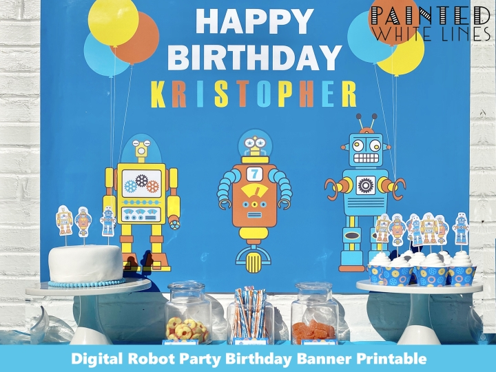 Robot Party Cake Table Backdrop Template