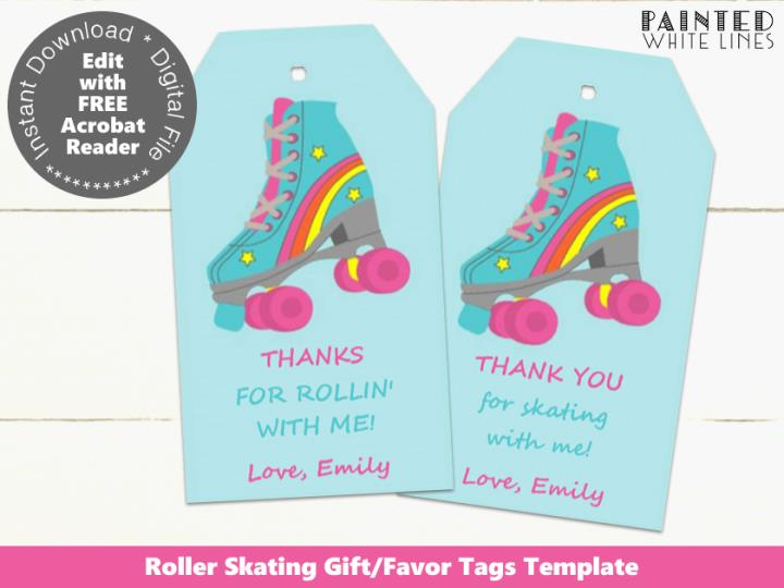 Roller Skating Party Printable Favor Tags Template
