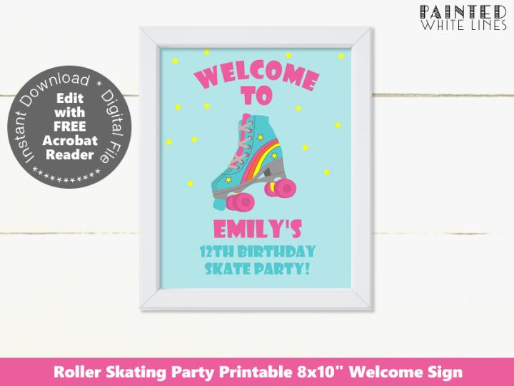Roller Skating Party Welcome Sign Template