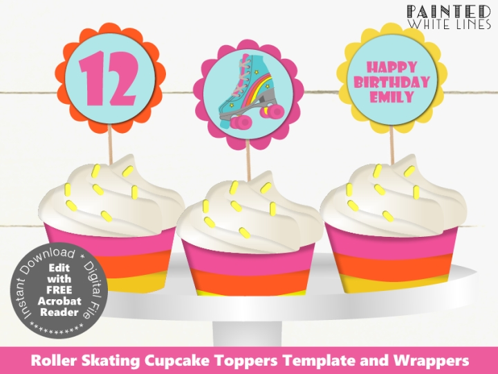 Printable Roller Skate Cupcake Toppers and Wrappers Template