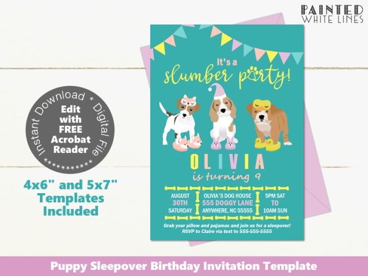 Printable Puppy Sleepover Party Invitation Template
