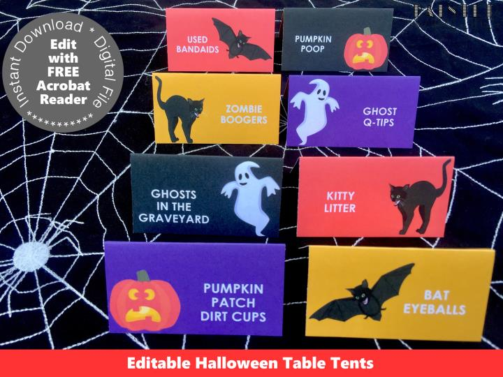 Spooktacular Kids Halloween Party Food Labels Template